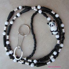 Panda bear lanyard for your ID badge, keys, transportation pass and more.