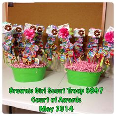 Brownie Girl Scout Court of Awards Wands were from the Target dollar bins. The badges/patches are stapled to the ribbons. Girl Scout Swap, Girl Scout Leader, Girl Scout Troop, Girl Scout Brownie Badges, Brownie Girl Scouts, Girl Scout Bridging, Girl Scout Patches, Girl Scout Activities, Girl Scout Juniors