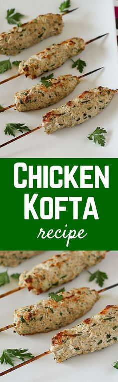 This Chicken Kofta is made with ground chicken flavored with parsley, onion, and great spices. It is healthy, exciting and easy to prepare. It would be great with ground turkey too! Get the recipe on (Low Carb Dinner Ground Turkey) Turkey Recipes, Meat Recipes, Pasta Recipes, Cooking Recipes, Greek Recipes, Indian Food Recipes, Tapas, Chicken Flavors, Chicken Meals