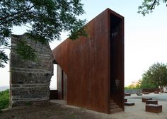Corten steel viewpoint and stage at ruined Renaissance palace in Pécs, Hungary, by MARP.