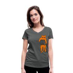 Geschenke Shop   Katze in Tscherl rot - Frauen Bio-T-Shirt mit V-Ausschnitt von Stanley & Stella Shirt Diy, Lady, Gifts For Cat Lovers, Gifts For Women, Funny T Shirts, My Daughter, Gifts For Birthday, Funny Stuff