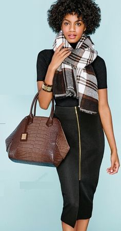 mark. Blanket Check Scarf, Don't Let Go Satchel, and Zip Me Up Pencil Skirt #fallfashion #ootd #falloutfit #fallstyle #weartowork #workoutfit