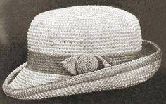 Boys Fedora Hat Antique Crochet Pattern for download Sz 2