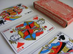 French vintage full set 32 playing cards by pushingbuttons1 for assemblage artist, collector or card shark