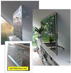 DIY TV mounted on angled wall