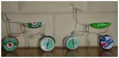 fiets van bierdoppen en ijzerdraad van ijzerdraad, vans, speelgo knutselen, blij van, Recycled Crafts, Diy And Crafts, Crafts For Kids, Arts And Crafts, School Projects, Projects To Try, Recycled Glass Bottles, Bottle Cap Art, Programming For Kids