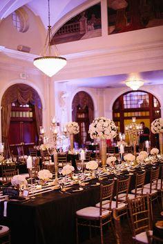 Photo: Stefano Choi Photography; Black and Gold Houston Wedding at the Crystal Ballroom - wedding reception.