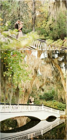 Charleston engagement photos on the long white bridge at Magnolia Plantation. #contax645