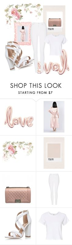"""White and Pink 💟"" by visualist-101 ❤ liked on Polyvore featuring Honeymoon Hotel, Chanel, Topshop, Miss KG and RE/DONE"