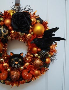 "Items similar to Halloween Ornament Wreath Vintage Inspired ""Creatures of the Night"" w/ Pumpkin, Black Cat, Raven, Singed Rose, Kitsch Orange Tealight Door on Etsy Christmas Ornament Wreath, Felt Christmas Decorations, Scary Halloween Decorations, Halloween Wreaths, Halloween Ornaments, Vintage Christmas Ornaments, Tree Decorations, Holiday Decor, Halloween Skirt"