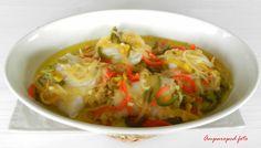 Cocinando en casa: Bacalao fresco, al horno, con cebolla y pimientos