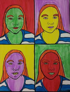 Kids in 4th grade created these awesome Pop Art self-portraits! We learned about Andy Warhol for this project. Warhol enjoyed repetition and color! He often drew the same every day (POPular) objects,