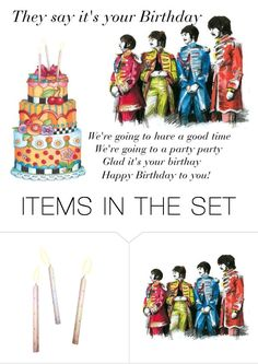 """""""The Beatles Sing Happy Birthday To You"""" by sjlew ❤ liked on Polyvore featuring art"""