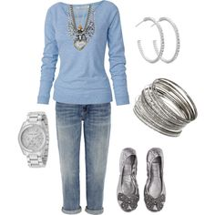 Baby Blue and Silver with Tory Burch Shoes