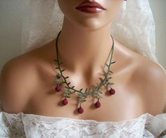 Turkish Oya  needle lace jewelry gift accessories dark red  necklace.