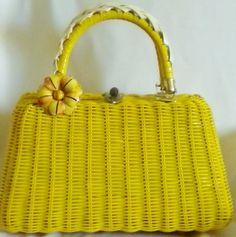 Lesco Lona Yellow Woven 60s Basket Purse by normajeanscloset, $24.99