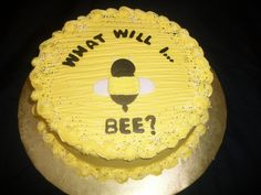 Gender Reveal Cake With A Bumble Bee Theme