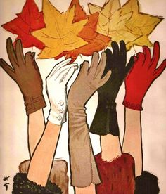A beautiful fall illustration from a mid-century Crescendoe gloves ad (art by Rene Gruau). #vintage #1950s #1960s #gloves