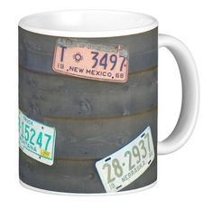 One of our newest coffee mugs. Vintage old license plates. Great way to get your caffeine fix and morning started.   #zazzle #coffee #coffeemug #licenseplates #licenseplate #antique #vintage
