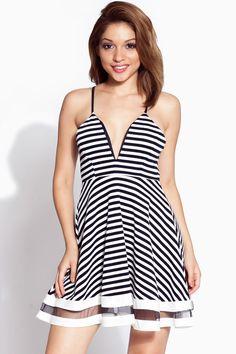 3dc236bd2b Navy Striped Plunging A Line Dress   Cicihot sexy dresses