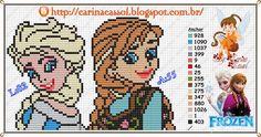 Elsa and Anna perler bead pattern by Carina Cassol
