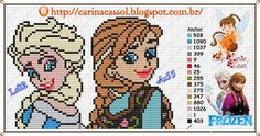 Elsa and Anna perler bead pattern by Carina Cassol