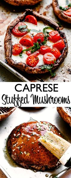 Portobello mushrooms stuffed with fresh mozzarella cheese tomatoes and drizzled with a rich balsamic glaze! Low carb healthy and perfect to enjoy for lunch dinner or as an appetizer! Healthy Low Carb Recipes, Low Carb Dinner Recipes, Cooking Recipes, Cooking Tips, Dinner Date Recipes, Fast Low Carb, Low Carb Diet, Mushroom Appetizers, Yummy Appetizers