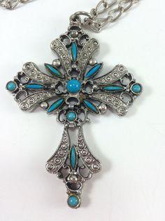Large pendant Cross necklace silvertone 1970s vintage Gothic renaissance…