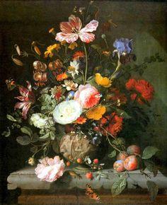 Jacob van Walscapelle (1644-1727) — Flowers in a Stone Vase,  1677 : Städel Museum, Frankfurt. Germany (892x1087)