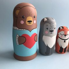 gift idea for kids Montessori developing skills Baby nursery decor handmade Owls Nesting dolls Russian nesting doll Stacking wooden toy Modern Owls Nesting dolls for kids