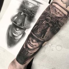 Tattoo artist Rob Richardson black and grey realistic tattoo blackwork authors style United Kingdom Realistic Tattoo Sleeve, Best Sleeve Tattoos, Body Art Tattoos, Cool Tattoos, Bike Tattoos, Gangster Tattoos, Godfather Tattoo, Tattoo Mafia, Tattoo Designs