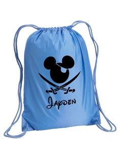 Disney Backpack,Mickey Mouse Bag,Pirate,drawstring bag,Disney Bag,Mickey Mouse Day Bag,Disney Cruise,Disney bag,Mickey Drawstring bag