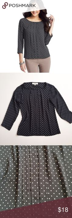 LOFT Dip Dot Pleated Blouse In great condition. Light weight. 3/4 sleeve. Polka dot print. Last pic is credited to fashion blogger: stylishpetite LOFT Tops Blouses