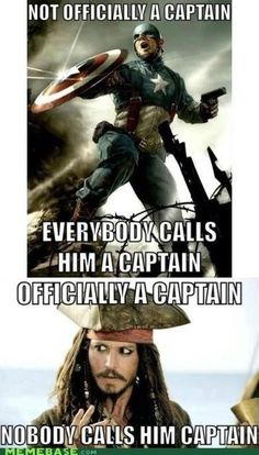 Hahaha Poor Jack :( Captain America and Pirates of the Carribean<------i love how this person is feeling sorry for captain jack bc nobody calls him captain.and she didnt even call him captain.lol made my day! Funny Marvel Memes, Dc Memes, Avengers Memes, Marvel Jokes, Stupid Funny Memes, Hilarious, Funny Quotes, Funny Facts, Funny Humor