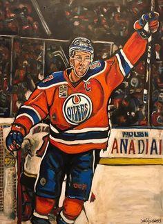 Connor McDavid from the Edmonton Oilers Ice Hockey Rink, Ice Hockey Players, Hockey Goalie, Nhl Players, Hockey Memes, Hockey Quotes, Hockey Drawing, Sports Painting, Ice Painting