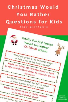 Have fun with these festive free printable, funny Christmas themed Would You Rather Questions. Everyone in the family is going have fun playing along. Perfect for the advent calendar, the kids' lunch box, long road trips or playing around the dinner table. #christmasgames #wouldyourather #wouldyouratherforkids #wouldyouratherprintable #wouldyourathergame #birthdaypartyideas #freeprintable #printablegames #kidschristmas #christmasactivity