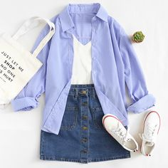 Blue Single Breasted Dual Pockets Denim Skirt
