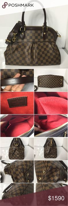 100% Authentic Louis Vuitton Damier Ebene Trevi PM 100% Authentic Louis Vuitton Damier Ebene Trevi PM with Dust Bag. Pre-Owned bag in excellent used condition. No tears, no holes, No rip on the canvas. Inside has tiny stain it can be clean. No bad odor/ no smell. Handle and Leather corner have marks and sign of normal used. MADE IN FRANCE DATE CODE TH5028 ( 52 weeks of 2008 )  Please check all the pictures. -In order to avoid unnecessary return. 100% authentic or your money back - no return…