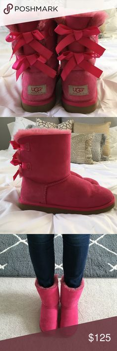 UGG Bailey Bow Hot Pink Boots Worn a handful of times. Perfect condition -- like brand new! Adorable, hot pink short UGGs that add a fun, bright touch to Winter outfits! **Once again, run big! THESE BOOTS FIT A SIZE 7 to 8 foot VERY WELL! I recommend someone with a size US women's 7 to 8 to purchase.*** UGG Shoes Ankle Boots & Booties