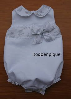 "TODO EN PIQUE para bebe: Coleccion ""Toile de Jouy"" - otros colores Baby Layette, Baby Bloomers, Baby Girl Dresses, Baby Dress, Baby Girl Fashion, Kids Fashion, Toddler Outfits, Kids Outfits, Baby Suit"