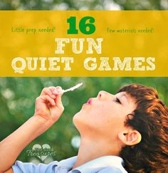 "16 Fun Quiet Games: Sometimes we need our kiddos to be quiet. It may be an important phone call or when we are in a public waiting room. Stop saying, ""Shh!"" and keep your kids happy AND quiet Games For Kids Classroom, Fun Activities For Kids, Learning Activities, Kids Learning, Activity Games, Fun Games, Thing 1, Family Kids, In Kindergarten"