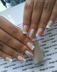 Pink Gel Nails, Best Acrylic Nails, Fun Nails, Rose Nail Art, Nail Art Diy, Hello Nails, Almond Nails Designs, French Nail Art, Bride Nails