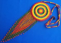 Mexican Huichol Beaded Necklace Pouch by Aramara on Etsy