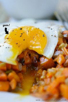 This is one of my very favorite recipes. I top it with fresh salsa. Fried Eggs and Sweet Potato Bacon Hash.....super simple to make and so delicious!