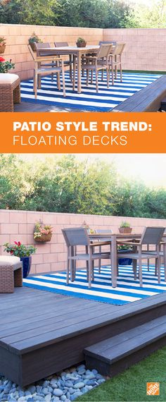 A floating or freestanding deck can add visual appeal to your backyard as well as increasing the space available for outdoor dining, entertaining or just relaxing outside. For more inspiration and how-to, check out The Home Depot Blog.