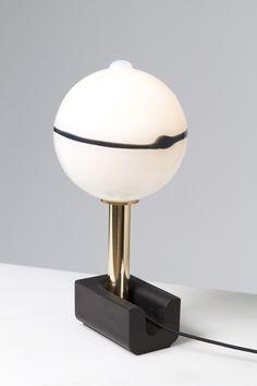 "Eric Schmitt ""Sphère"" Lamp in cast anodized aluminium, brass and blown bohemian glass."