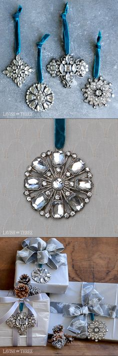 Elegant crystal ornaments on a beautiful velvet ribbon. Perfect for a lavish tree or to decorate silver gift wrapping.