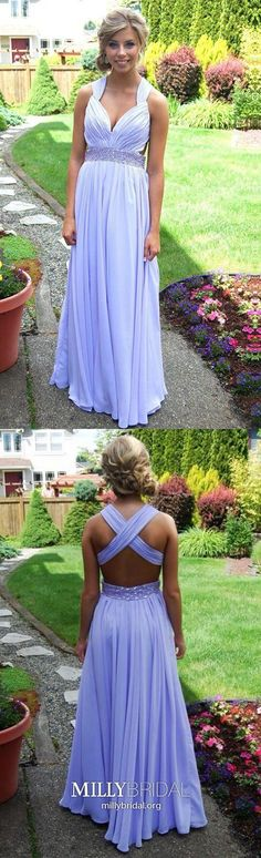 A Line Prom Dresses Lavender, Long Formal Evening Dresses Open Back, V Neck Military Ball Dresses Chiffon, Beautiful Wedding Party Dresses Beading Open Back Prom Dresses, A Line Prom Dresses, Prom Dresses Online, Formal Evening Dresses, Dresses For Teens, Wedding Party Dresses, Homecoming Dresses, Evening Gowns, Formal Prom