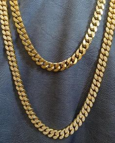 """Grams Mens Miami Cuban 14mm Necklace 14k Gold Finish Chain 30/"""" Inch Heavy 290"""