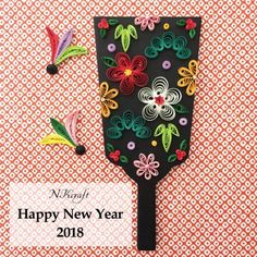 Paper Quilling Patterns, Quilling Paper Craft, Paper Crafts, Chinese New Year Crafts, Quilling Christmas, New Year's Crafts, Happy New Year 2018, New Years Decorations, Mother And Child